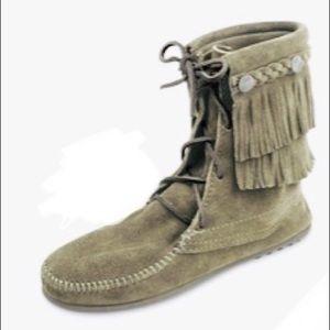 Minnetonka Double Fringe Olive Green Lace up Boots